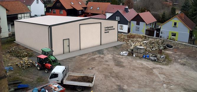 Entwurf für eine neue Lagerhalle in Nohra: Im Rat der Landgemeinde Bleicherode wurde gestern Abend über die Neustrukturierung der Bauhöfe diskutiert. (Foto: Landgemeinde Bleicherode)